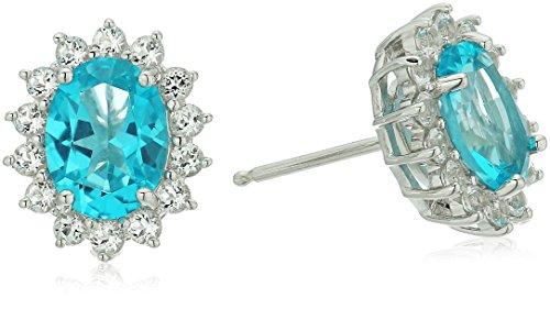 Platinum Plated Sterling Silver Swarovski Paraiba Blue and White Topaz Stud Earrings -