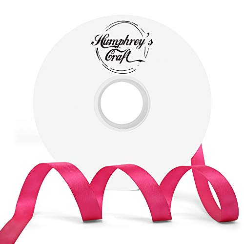 Humphrey's Craft 1/2-inch Double Face Solid Satin Ribbon 100% Polyester Ribbon Roll-50 Yard (Shocking - Pink Satin Shocking