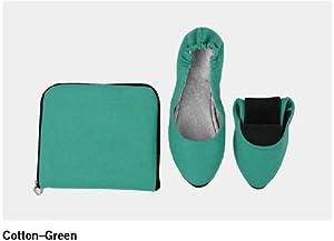 "Sidekicks Women's Foldable Portable Travel Ballet Flat Shoes w/ Matching Carrying Case ""Cotton Series"""