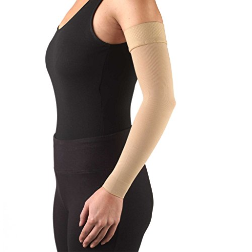 Truform Lymphedema Arm Sleeve, 20-30 mmHg Compression, Women's Post Surgical Garment, Mastectomy Swelling Management, Soft Microfiber, Medical Grade Support, Silicone Dot Top, Beige, Small (Stub Post)