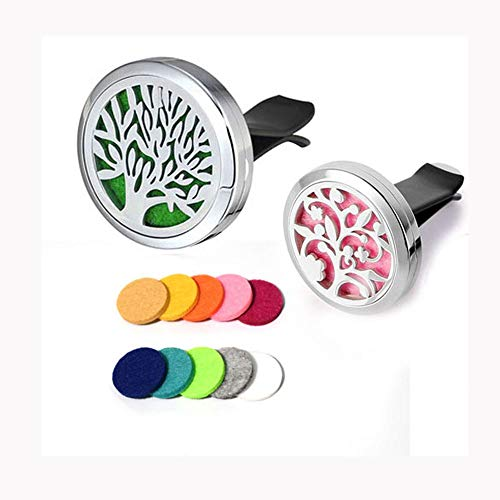 Cheely 2 Pack Car Aromatherapy Essential Oil Diffuser Stainless Steel Vent with 12 Refill Pads. by Cheely