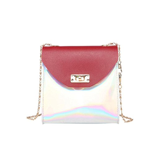 Womens Shoulder Bags, SHOBDW Women Fashion Chain Laser Party Crossbody Messenger Wallet Phone Coin Small Bag Birthday Gifts Red
