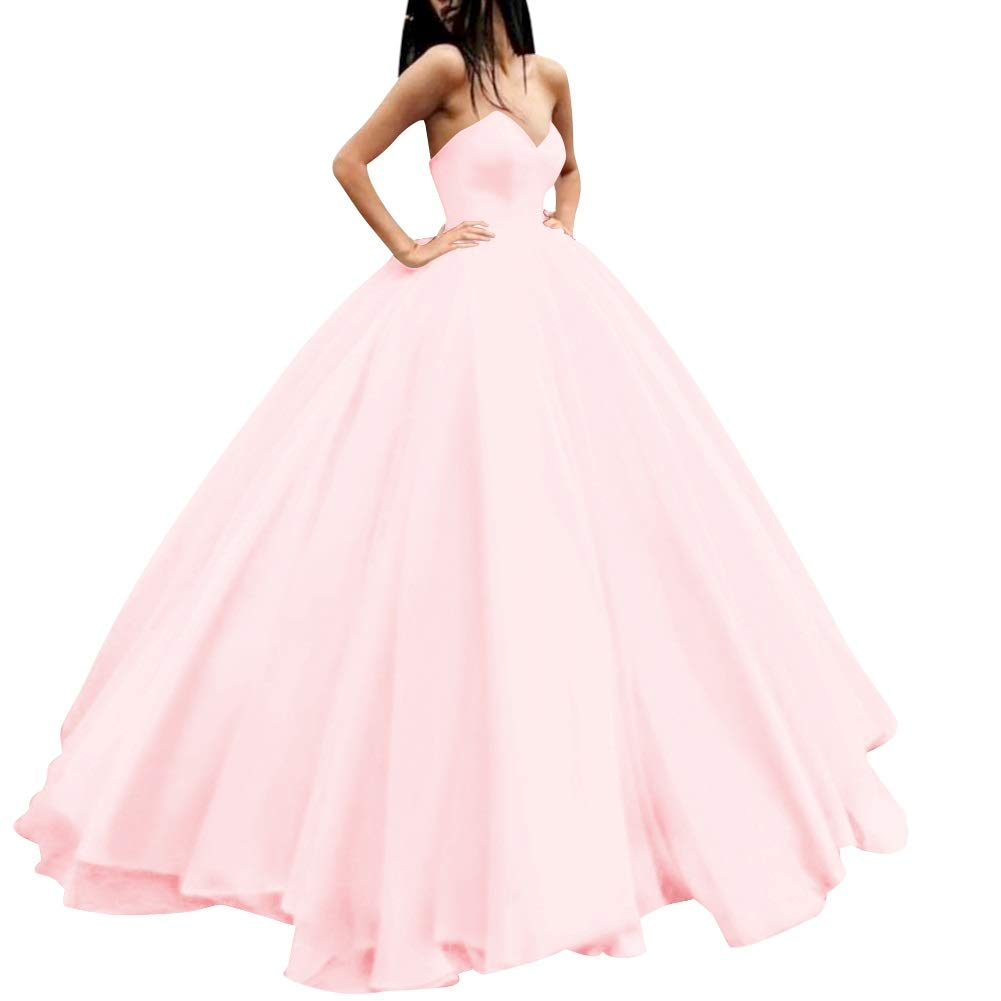 bluesh Pink MorySong Women's Sweetheart Prom Ball Gown Lace Up Pageant Quinceanera Dress