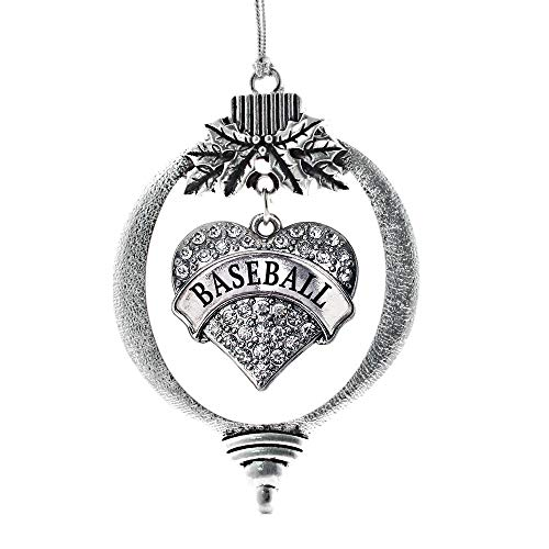 - Inspired Silver - Baseball Charm Ornament - Silver Pave Heart Charm Holiday Ornaments with Cubic Zirconia Jewelry