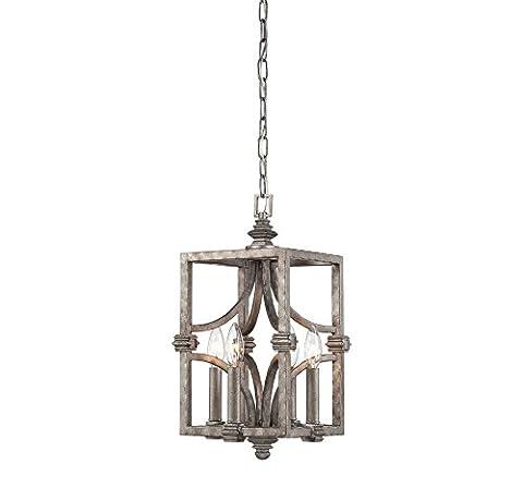 Savoy House 3-4302-4-242, Structure 4- Light Foyer, Aged Steel - Nickel Lantern Pendant