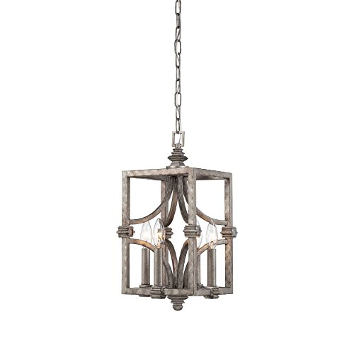Savoy House 3-4302-4-242, Structure 4- Light Foyer, Aged Steel - Savoy House Foyers Ceiling Pendant