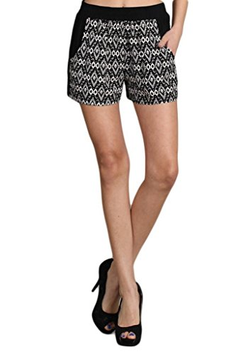 lov posh Women's Damask Print Shorts Large Black