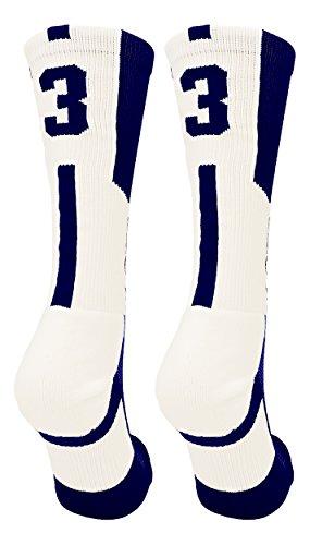 Pack Navy Crew 2 Sock (TCK Player Id Navy/White Number Crew Socks (#33, Small))
