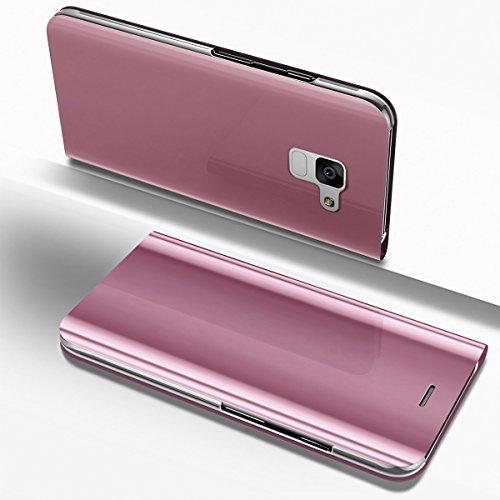 PHEZEN Galaxy A8 Plus 2018 Case, Luxury Mirror Makeup Case Plating PU Leather Flip Folio Wallet Case [Kickstand] Magnetic Closure Full Cover Case for Samsung Galaxy A8 Plus 2018 (Rose Gold) by PHEZEN