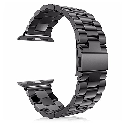 Leefrei Stainless Steel Replacement Strap Watch Band for 42mm Apple Watch Series 3 Series 2 and Series 1 - Black