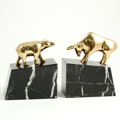 (7 Inches Solid Brass Lacquered Wall Street Bookend On Marb)