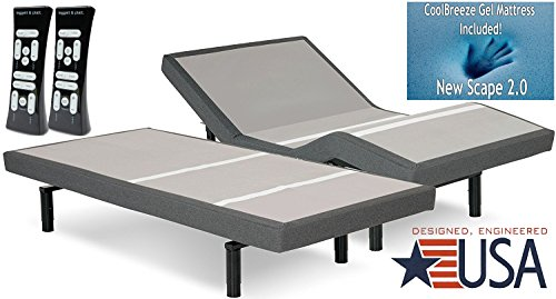 DynastyMattress 12-Inch CoolBreeze GEL Memory Foam Mattress with S-Cape Adjustable Beds Set Sleep System Leggett & Platt (SPLIT CALKING-w/SETUP)