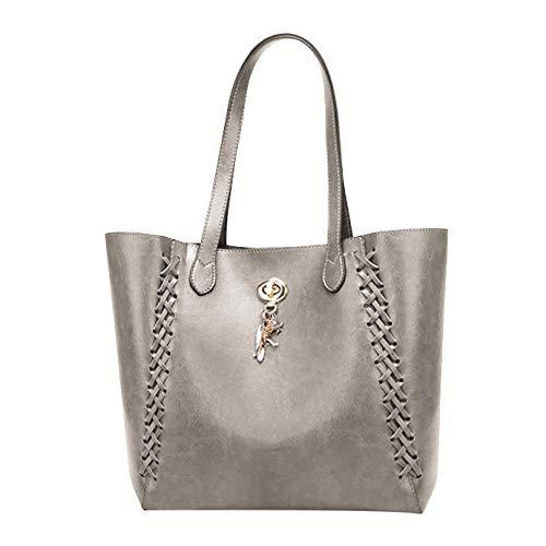 Handmade Weaving Women's Leather Bag - Matching Purse for Organization - Ladies Shoulder Bag Handbag (Gray) ()