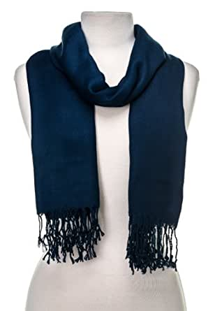 Noble Mount Solid Plain Pashmina with a Complimentary Gift - Navy