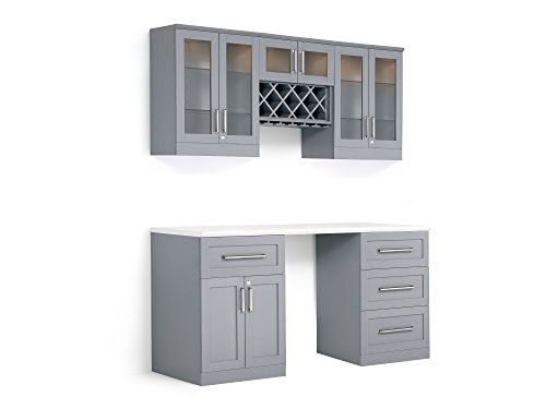 NewAge Products Home Bar Espresso 6 Piece Cabinet Set, 60251