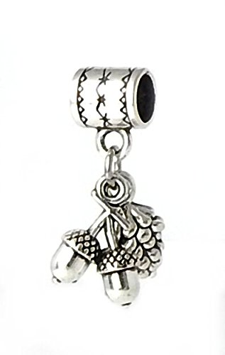 J&M Dangle Acorn and Pine Nut Charm Bead for Charms Bracelets