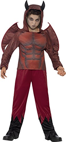 Smiffy's Children's Deluxe Devil Costume,top, Trousers & Wings, Ages 10-12,