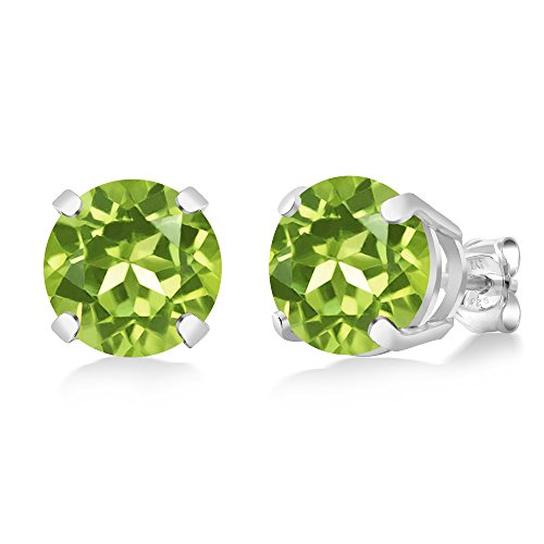 Gem Stone King 4.00 Ct Round Green Peridot Sterling Silver Basket Stud Earrings 8mm