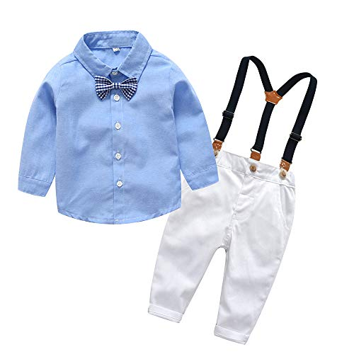 - xirubaby Toddler Boys 2 Pieces Gentleman Blue Shirt+Suspenders Pants Clothing Set Outfit(80/12-18 Months,White)