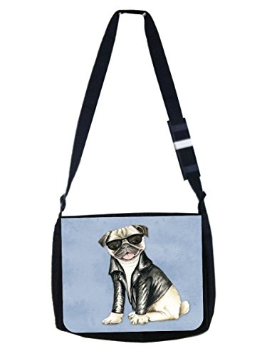 Hipster Style Pug in Black Shades and Motorcycler's Jacket - Girls/Boys Black Multi-Purpose Laptop Shoulder Messenger Bag and Small Wire Accessories Case Set - Elementary/Middle / High School by Jacks Outlet
