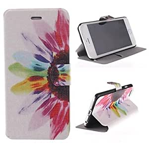 HJZ Flower Color Pattern PU Leather Cover with Stand for iPhone 6