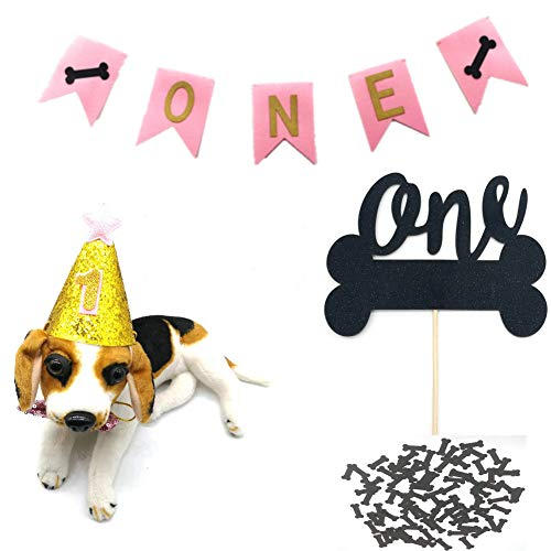 HEMARTY Dog One Birthday Party Supplies, One Banner with Cute Doggie Birthday Party Hat Black Bones and Black One Cake Topper