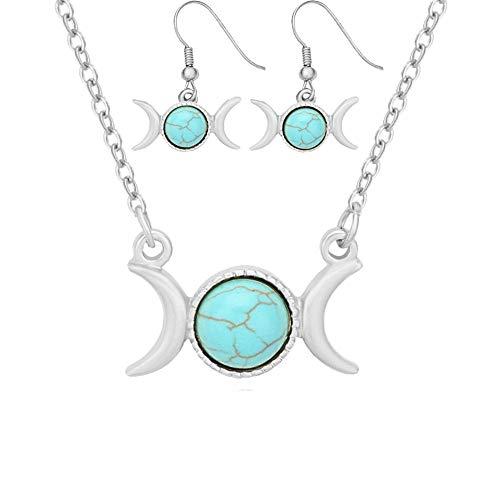 - Triple Moon Goddess Symbol Semi-Precious Stones Dangle Earrings Necklace(Blue Turquoise Silver NE+ER)