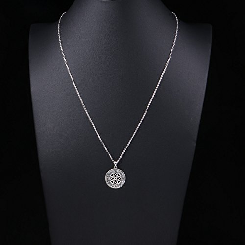 20 inch 925 Sterling Silver Jewelry Oxidized Good Luck Irish Knot Celtic Medallion Round Pendant Necklace