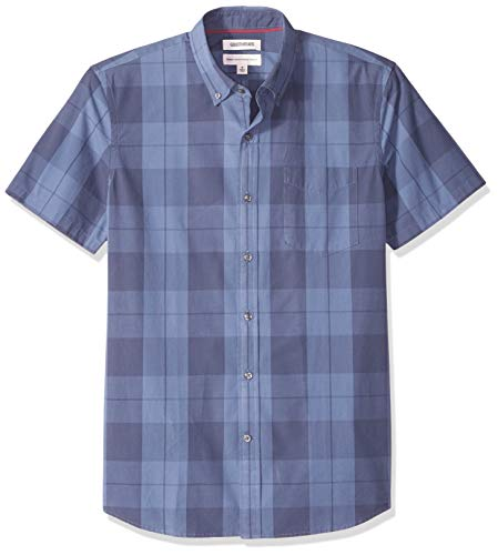 Goodthreads Men's Standard-Fit Short-Sleeve Plaid Poplin Shirt, -indigo large plaid, Medium