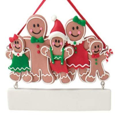 Bouksha Trading Personalized Clay Dough Gingerbread Family Ornament with 3 ()