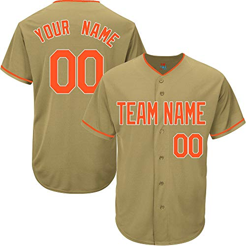 (Gold Customized Baseball Jersey for Women Game Embroidered Team Player Name & Numbers,Orange-White Size S)