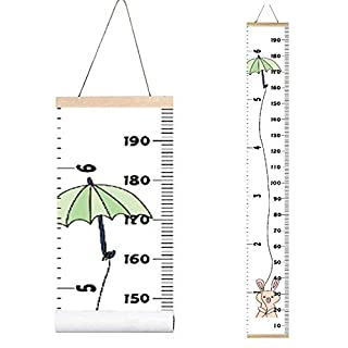 Miaro Kids Growth Chart, Wood Frame Fabric Canvas Height Measurement Ruler from Baby to Adult for Child's Room Decoration 7.9 x 79in (7.9 x 79in, Umbrella Rabbit)