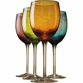 Wine Glasses Colored Crystal - Colored Goblet Wine Glasses, Multicolor, Set of 4, 16 oz. 8.75