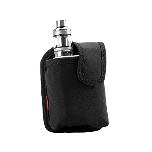 Vape Carrying Bag - Secure, Organized, Portable, Premium Vapor Pouch - Fits Medium Mechanical Box Mods & Tank Holder - Wick and Wire (Medio Black)