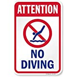 """SmartSign Aluminum Sign, Legend""""Attention-No Diving"""" with Graphic, 18"""" High X 12"""" Wide, Blue/Red on White"""