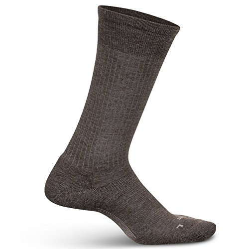 Feetures Men's Everyday Moisture Wicking Dress Sock - Classic Rib Cushion Crew - Taupe - Size (Taupe Mens Socks)