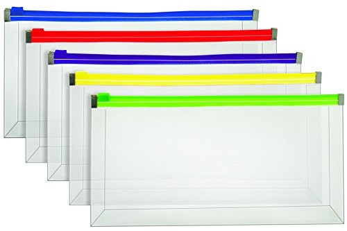 Staples Poly Zip Envelopes, Assorted Color Zip, Check Size