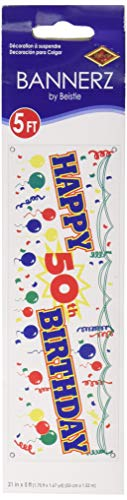 Happy 50th Birthday Sign Banner Party Accessory (1 count) (1/Pkg)