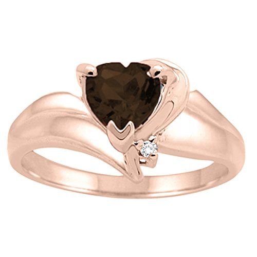 (Heart Shaped Smokey Quartz and Diamond Ring in 10K Rose Gold)