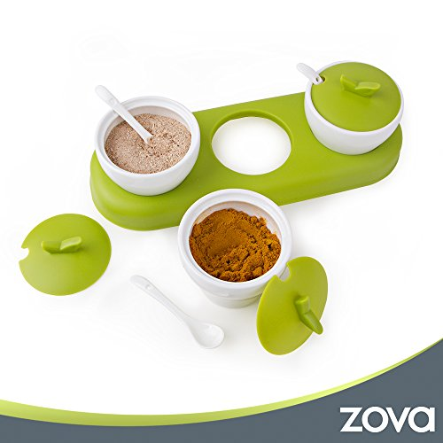 zova Ceramic Condiment Spice Jars Seasoning Box with Lid, Serving Spoon and Tray, Set of 3, White & Green by MR.SIGA (Image #3)