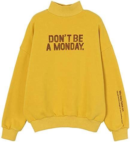 女性タートルネックルーズ厚い暖かいスウェットシャツレタープリントTシャツロングスリーブ秋冬プルオーバートップス