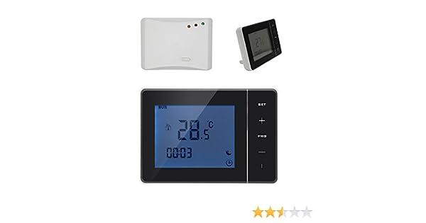 Radio frecuencia 3A 5A 16A termostato programable digital para calefaccion suelo y caldera gas - blanco o negro - Termostato Ambiente programador ...