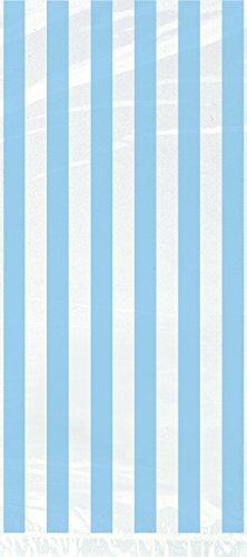 Light Blue Striped Cellophane Bags, 20ct