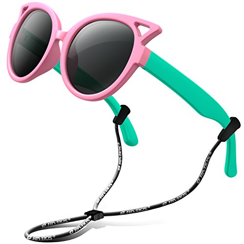 Green Boys Strap - RIVBOS Rubber Kids Polarized Sunglasses With Strap Glasses Shades for Boys Girls Baby and Children Age 3-10 RBK002 (pink&green)