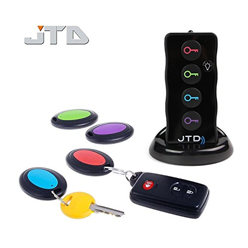 JTD  Wireless RF Item Locator/Key Finder with LED flashlight and base support. With 4 Receivers Key Finder-Wireless key RF locator, Remote Control, Pet, Cell, Wireless RF Remote Item, Wallet Locator. (4 (Remote Control Key Finder)