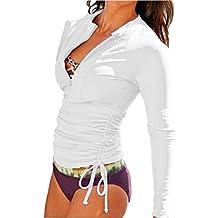 Women's 50+ UV Sun Protection Long Sleeve Rash Guard Wetsuit Swimsuit Top