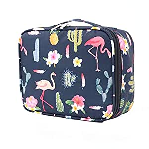 Waterproof Large Capacity Cosmetic Bag Portable Makeup Brush Organizer Kit Multifunctional Vacation Travel Home Toiletry Cute Printed Pouch for Little Young Girl (Flowers)