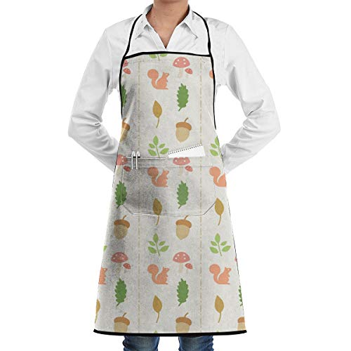 NRIEG Squirrel Pine Cone Faction Unisex Kitchen Cooking Garden Apron£¬Convenient Adjustable Sewing Pocket Waterproof Chef Aprons