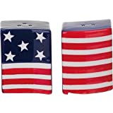 Waving American Flag Salt & Pepper Shaker Set - Ceramic