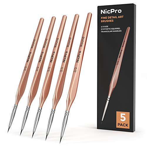 Nicpro Detail Paint Brushes 5 PCS Fine Tip 000 Professional Miniature Painting Kit Round 3/0 Art Brush for Micro Watercolor Oil Acrylic Craft Models Rock Army Painting